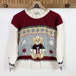 Vintage 90s Holiday Teddy Bear Argyle Knit Sweater